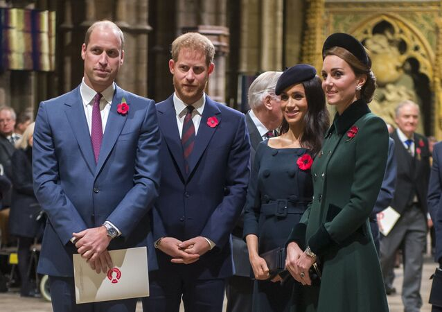 The Duke and Duchess of Cambridge and the Duke and Duchess of Sussex attend a National Service to mark the centenary of the Armistice at Westminster Abbey, London, Sunday November 11, 2018