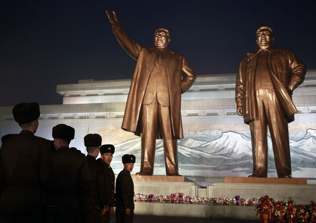 North Korean soldiers line up as they pay respect to the bronze statues of their late leaders Kim Il Sung and Kim Jong Il at Mansu Hill Grand Monument in Pyongyang, North Korea, Sunday, Dec. 16, 2018. Many North Koreans are marking the seventh anniversary of the death of leader Kim Jong Il with visits to the statues and vows of loyalty to his son, Kim Jong Un
