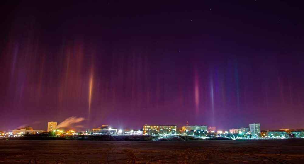Colorful Light Pillars Emerge Over Skies in Nizhny Tagil