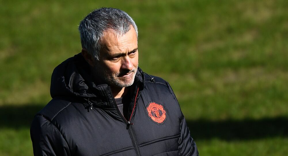Manchester United's head coach Jose Mourinho during the training session ahead of the UEFA Europa League last 16 match between Manchester United and Rostov Rostov-on-Don