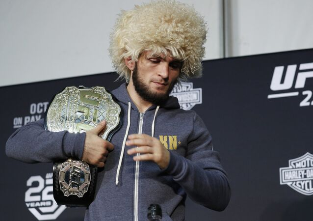 Khabib Nurmagomedov attends a news conference after the UFC 229 mixed martial arts event Saturday, Oct. 6, 2018, in Las Vegas