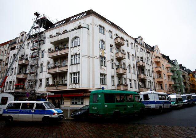 German police vehicles are parked near the entrance of the As-Sahaba mosque in Berlin Moabit, Germany, December 18, 2018