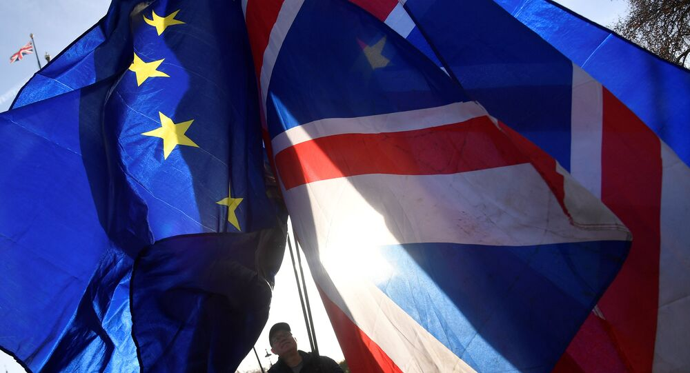 Demonstrators hold EU and Union flags during an anti-Brexit protest opposite the Houses of Parliament in London, Britain, December 17, 2018