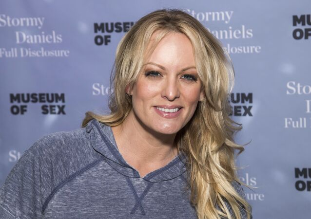 Adult film actress Stormy Daniels attends a book signing for her memoir Full Disclosure at the Museum of Sex on Monday, Oct. 8, 2018