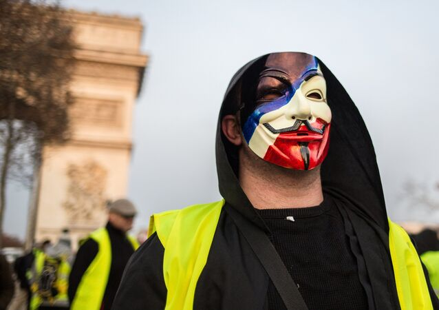 A protester takes part in a demonstration of the yellow vests movement in Paris, France.