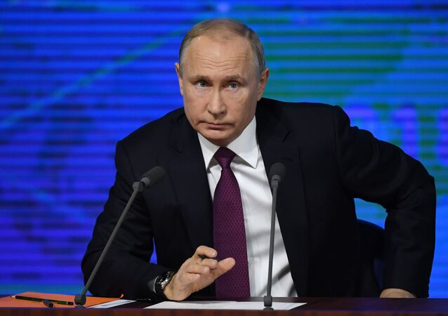 Russian President Vladimir Putin speaks during annual news conference in Moscow, Russia December 20, 2018