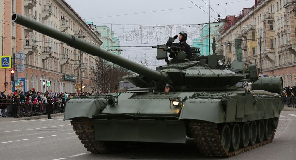 T-80BVM. General rehearsal of the military parade in Murmansk