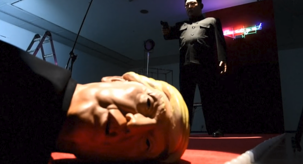 Art installation depicts North Korean leader Kim Jong Un shooting US President Donald Trump