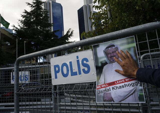 A poster of missing Saudi writer Jamal Khashoggi