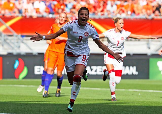 FILE PHOTO: Soccer Football - Netherlands vs Denmark - Women's Euro 2017 Final - Enschede, Netherlands - August 6, 2017 Denmark's Nadia Nadim celebrates scoring their first goal