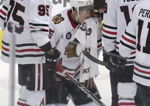 Chicago Blackhawks defenseman Connor Murphy after he caught an elbow during the third period of the team's NHL hockey game against the Dallas Stars
