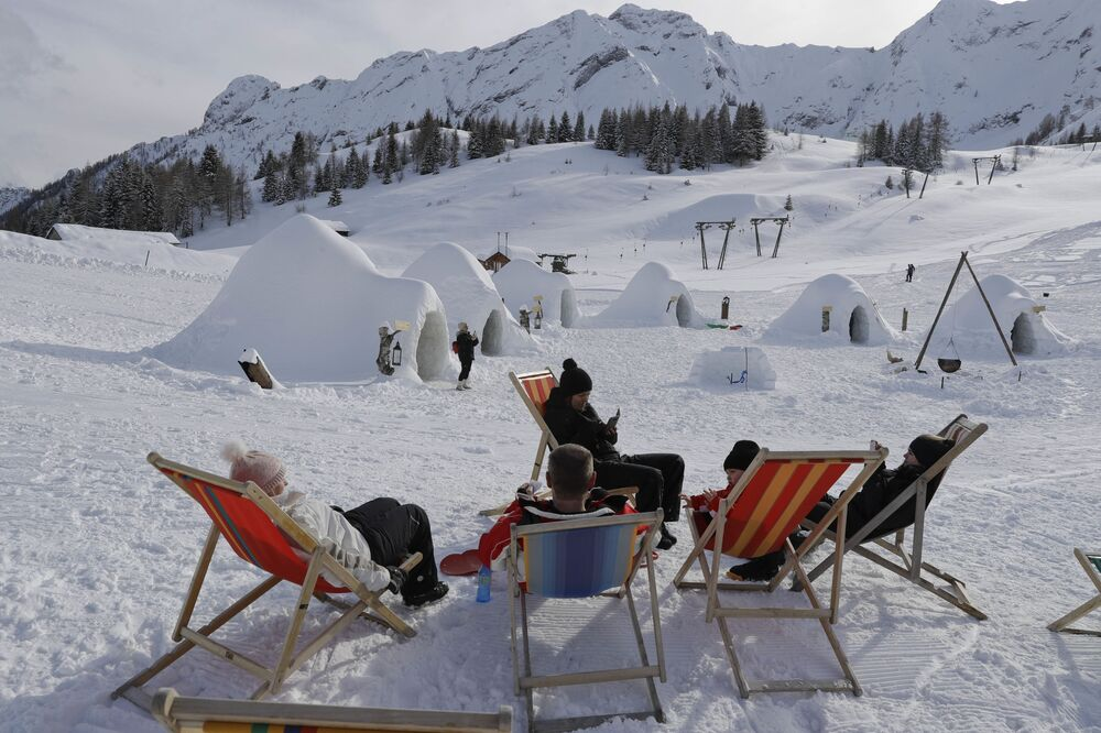 An igloo village in San Simone di Valleve, near Bergamo, northern Italy
