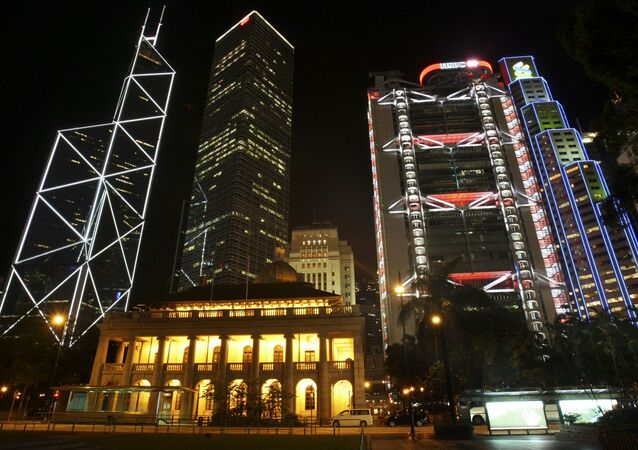 A general view of central downtown, including from top left, Bank of China, The Cheung Kong Center, HSBC's headquarters and the Standard Chartered Bank as well as the Legislation Council, bottom, in Hong Kong