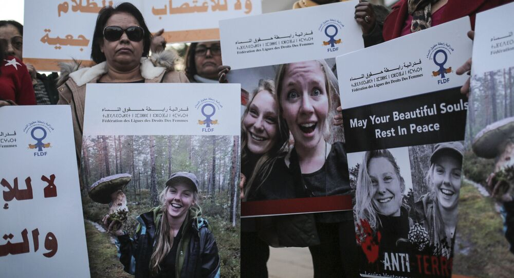 24-year-old Danish Louisa Vesterager Jespersen, during a candlelight vigil outside the Danish embassy in Rabat for the two Scandinavian university students who were killed in a remote area of the Atlas Mountains, Morocco, Dec. 22, 2018