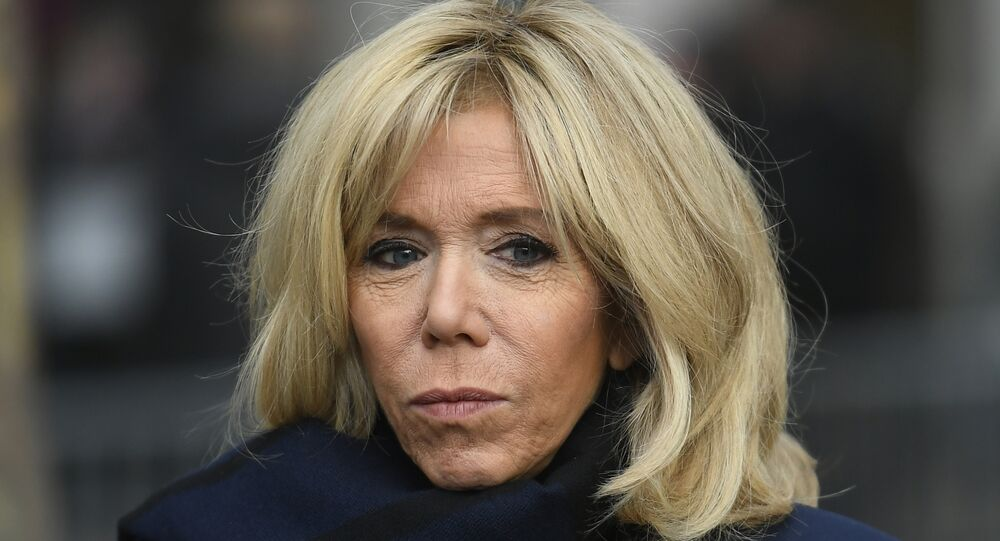 French first lady Brigitte Macron is seen prior to a visit at the Centre Georges Pompidou modern art museum, on November 27, 2018 in Paris, as part of Iohannis' state visit to France