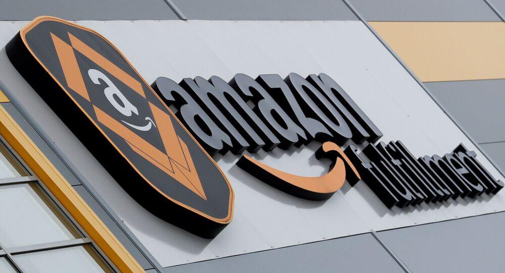 A logo of the Amazon fulfillment is seen outside the Amazon fulfillment center in the village of Dobroviz, near Prague, Czech Republic, December 20, 2018