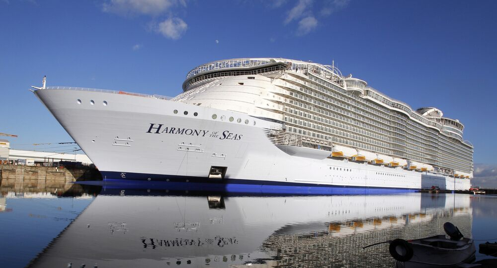 In this Feb. 18, 2016 file photo, the Harmony of the Seas docks at the STX Shipyard in Saint-Nazaire, western France. Tens of thousands of French well-wishers waved revoir to the largest cruise ship in the world as it set sail on its maiden voyage to the U.K. after 32 months in a French shipyard.