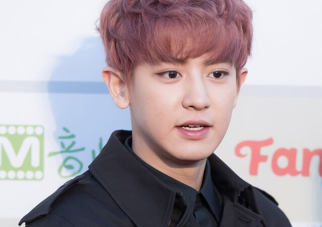 Park Chan-yeol at Gaon Chart K-pop Awards red carpet, on February 17, 2016