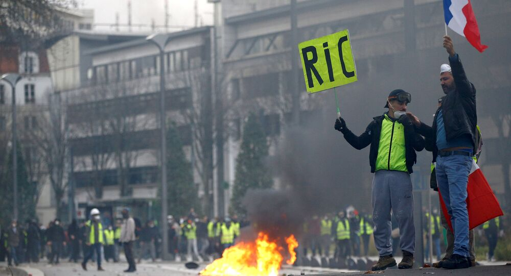 Protesters wearing yellow vests attend a demonstration of the yellow vests movement in Nantes, France, December 22, 2018