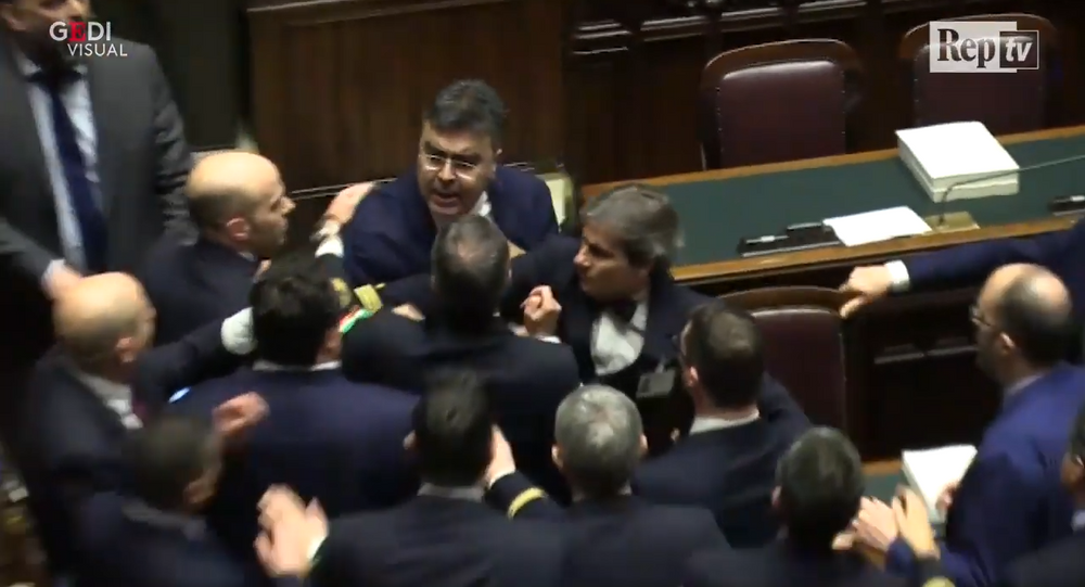 Brawl in Italy's Parliament
