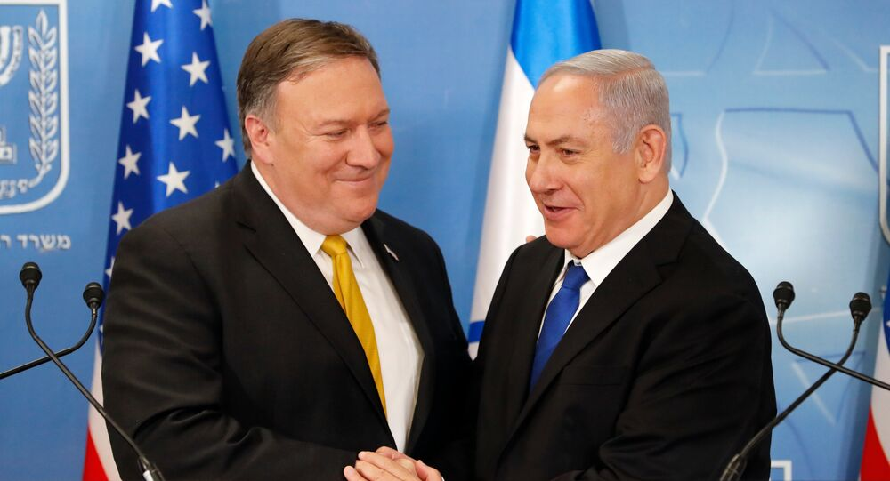 In this Sunday, April 29, 2018 file photo, U.S. Secretary of State Mike Pompeo. left. is greeted by Israeli Prime Minister Benjamin Netanyahu ahead of a press conference at the Ministry of Defense in Tel Aviv.