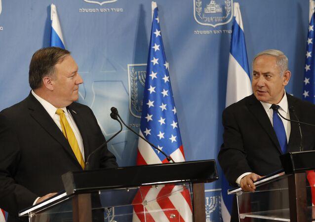 US Secretary of State Mike Pompeo. left. and Israeli Prime Minister Benjamin Netanyahu