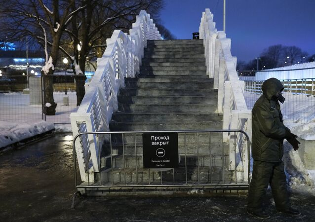 The collapsed pedestrian bridge in Moscow's Gorky Park