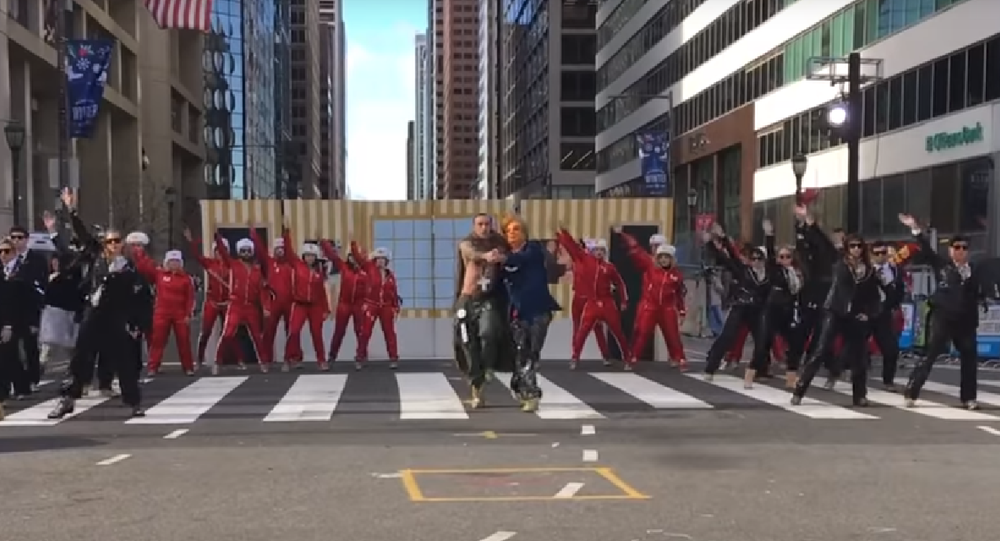 US President Donald Trump and Russian President Vladimir Putin do the tango in the Lobster Club's sketch during the Mummers Parade in Philadelphia