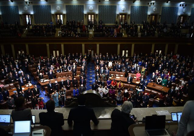 Members of Congress arrive before the start of the 116th Congress and swearing-in ceremony on the floor of the US House of Representatives at the US Capitol on January 3, 2019 in Washington,DC.