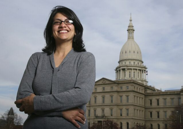 In this Nov. 6, 2008 file photo, Rashida Tlaib, a Democrat, is photographed outside the Michigan Capitol in Lansing, Mich.