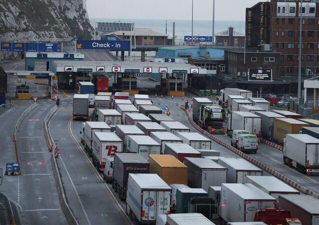 UK No-Deal Lorries Queue