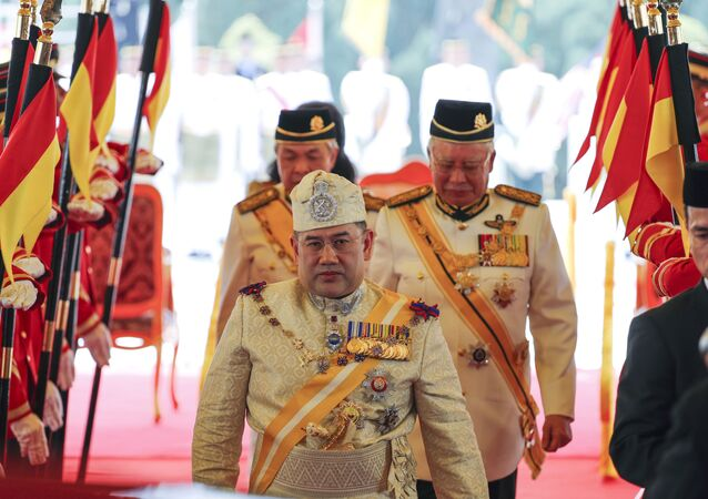 Sultan Muhammad V at the Parliament House in Kuala Lumpur, Malaysia