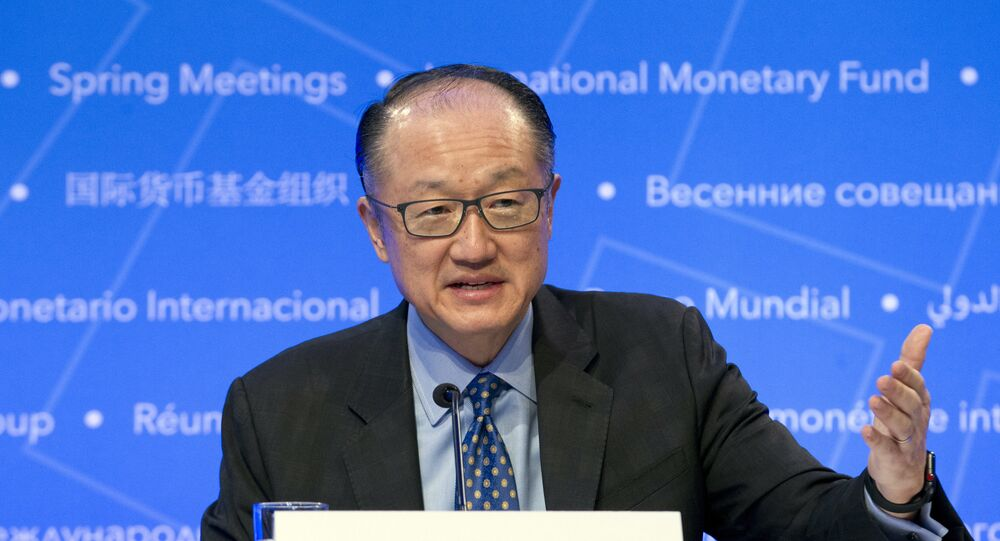 World Bank President Jim Yong Kim speaks during a news conference at the World Bank/IMF Spring Meetings, in Washington, Thursday, April 19, 2018.