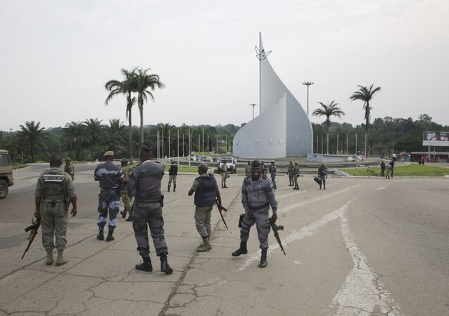 Forces loyal to Gabon's President Bongo on the streets of the capital Libreville after the failed coup on January 7, 2019