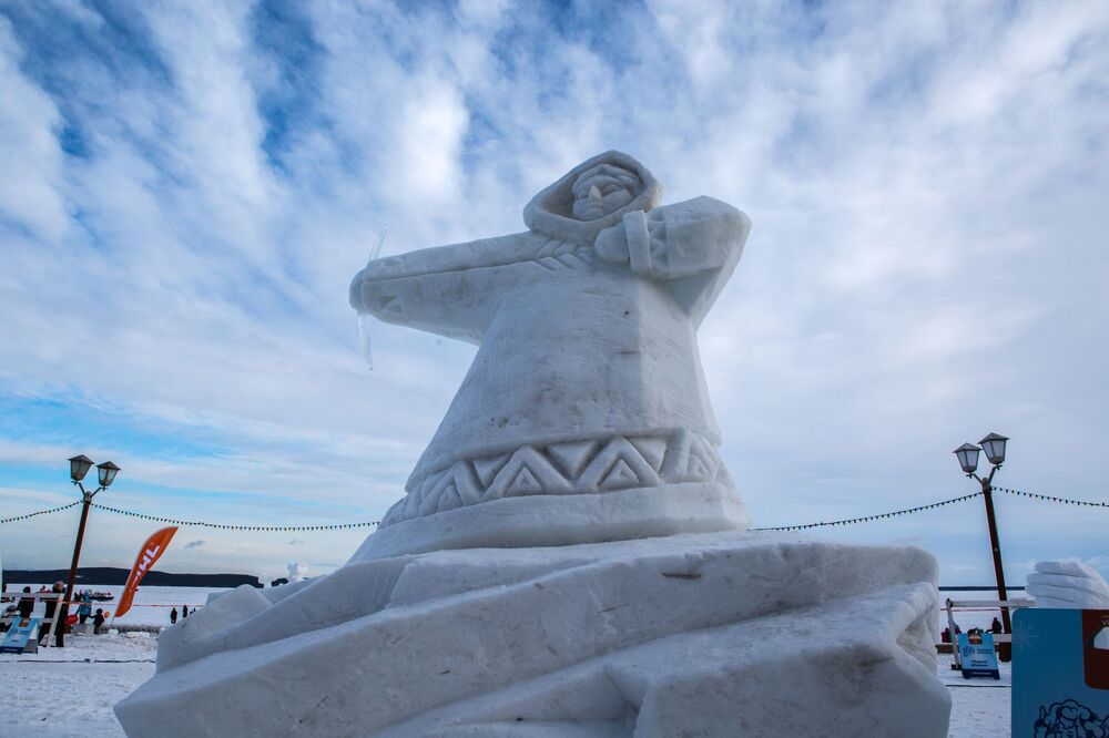 The Snow Sculptures Competition at the International Winter Festival Hyperborea in Karelia