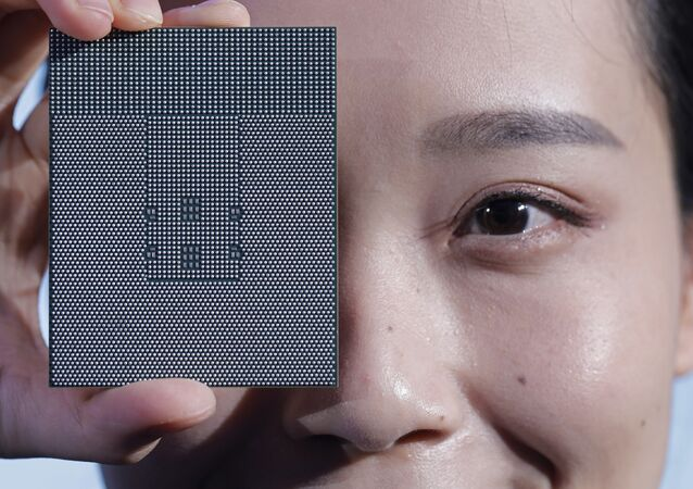 A Kunpeng 920 chip is displayed during an unveiling ceremony in Shenzhen, China, Monday, Jan. 7, 2019