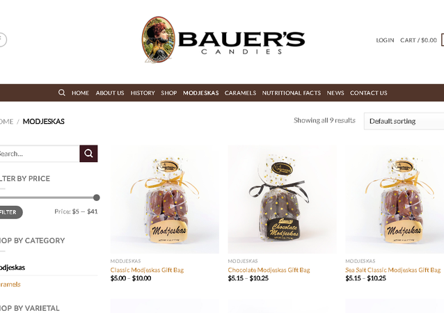 Screengrab of the Bauer's website, showing the candies which may be contaminated.