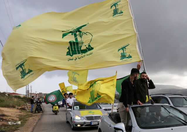 A supporter of Lebanon's Hezbollah gestures as he holds a Hezbollah flag in Marjayoun, Lebanon May 7, 2018