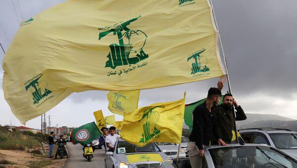 A supporter of Lebanon's Hezbollah gestures as he holds a Hezbollah flag in Marjayoun, Lebanon May 7, 2018 - Sputnik International
