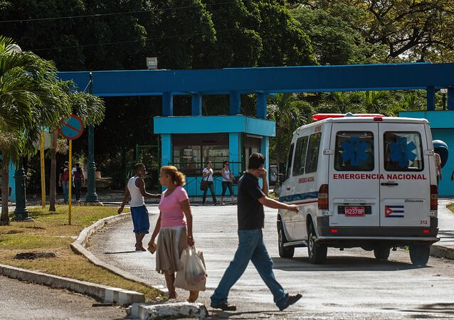 An ambulance arrives at a hospital in Cerro Municipality, on January 15, 2013 in Havana