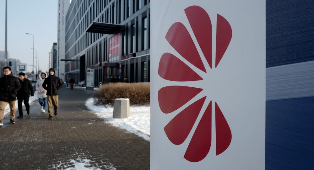 Logo of Huawei is seen on the advert in front of the local offices of Huawei in Warsaw, Poland January 11, 2019