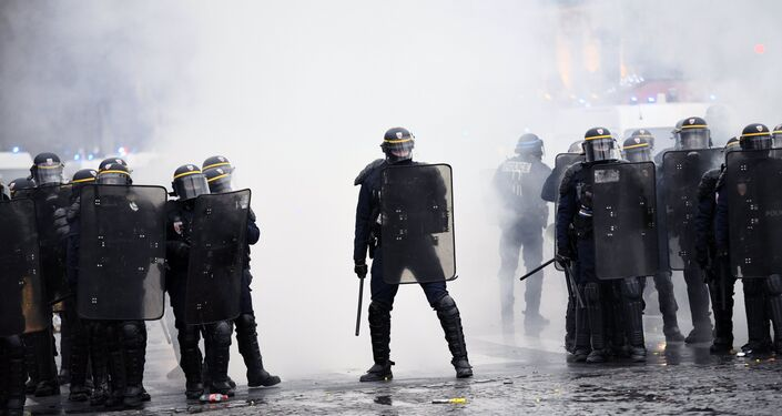 French police during the Yellow Vests protest in Paris