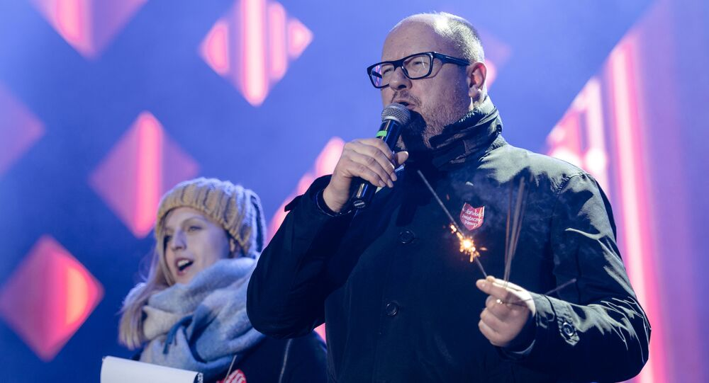 Gdansk's Mayor Pawel Adamowicz speaks during the 27th Grand Finale of the Great Orchestra of Christmas Charity in Gdansk, Poland January 13, 2019