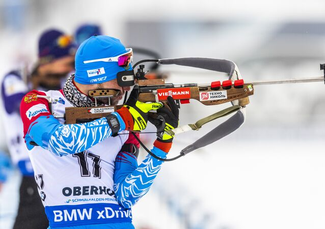 Alexander Loginov of Russia competes at the shooting range during the warm up prior to the men's 10 km sprint event of the IBU Biathlon World Cup in Oberhof, eastern Germany on January 11, 2019.