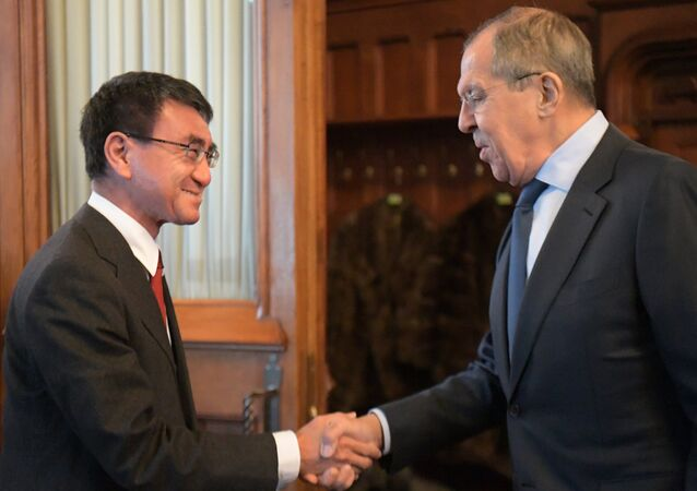 Russian Foreign Minister Sergei Lavrov Meets his Japanese counterpart Taro Kono on January 14, 2019