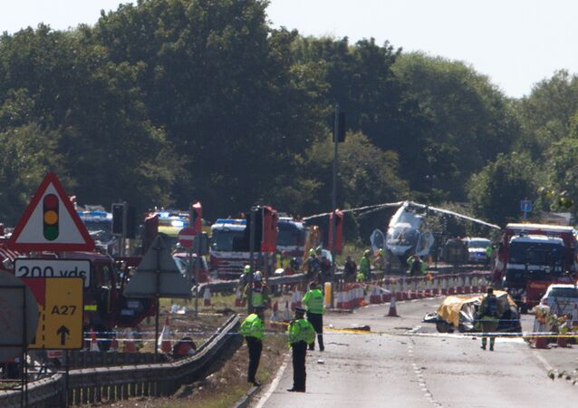 The remains of Andrew Hill's Hawker Hunter strewn over the main A27 road at Shoreham after the August 2015 crash
