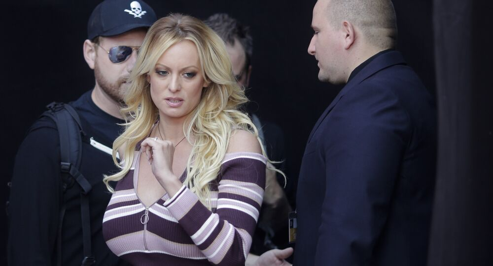 Stormy Daniels arrives for the opening of the adult entertainment fair 'Venus' in Berlin, Germany