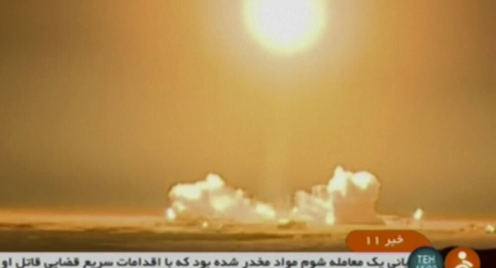 In this frame grab from Iranian state TV, a video, a rocket carrying a Payam satellite is launched at Imam Khomeini Space Center, a facility under the control of the country's Defense Ministry, in Semnan province, Iran, Tuesday, Jan. 15, 2019. According to Telecommunications Minister Mohammad Javad Azari Jahromi, the rocket failed to reach the necessary speed in the third stage of its launch.