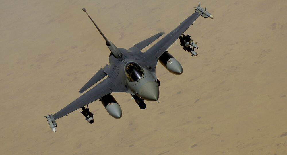 F-16 Fighting Falcon flies over Southwest Asia