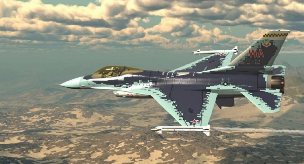 F-16 decked out to look like a Russian Su-57 (rendering).